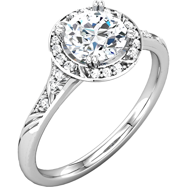 14kt White 1 18 CTW Diamond Engagement Ring