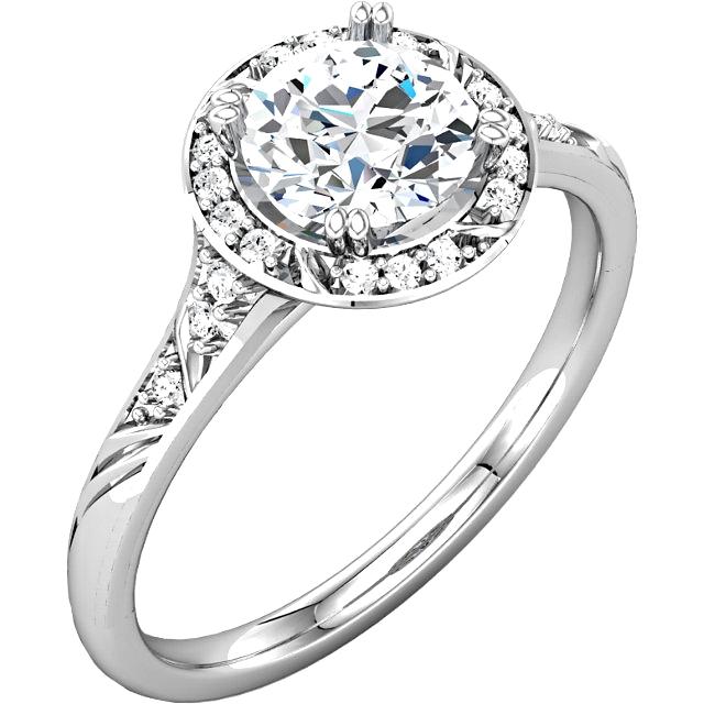 14kt White 1 18 CTW Diamond Engagement Ring