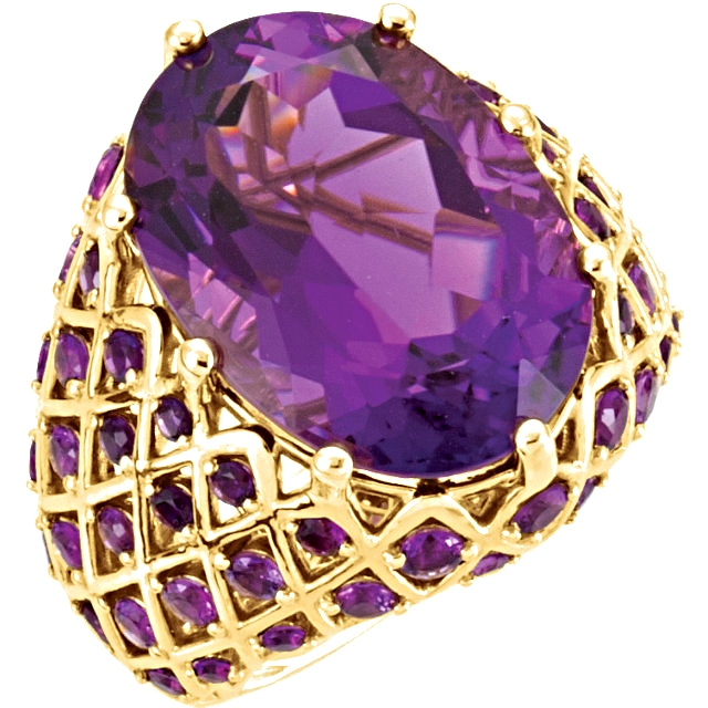 14kt Yellow Amethyst Nest-Design Ring