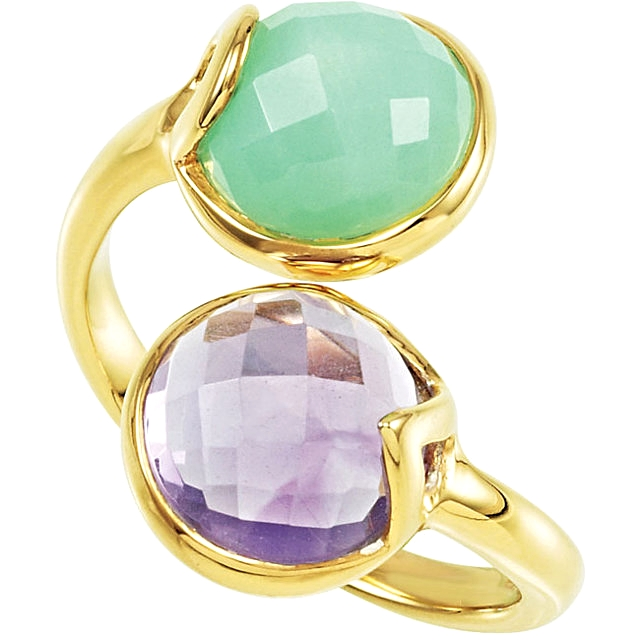 18kt Yellow Vermeil Amethyst & Chrysoprase Ring