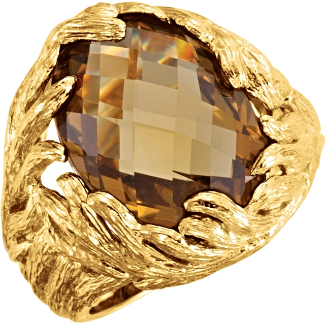 Sterling Silver Yellow Gold Plated Checkerboard Honey Quartz Ring