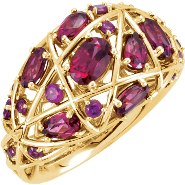 14kt Yellow Rhodolite Garnet Nest-Design Ring