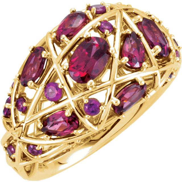 14kt Yellow Rhodolite Garnet Nest-Design Ring