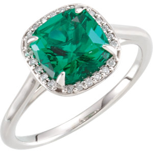 14kt White 8x8mm Emerald & .055 CTW Diamond Ring