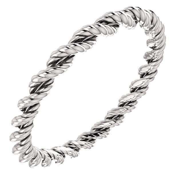 14kt White Band Twisted Rope