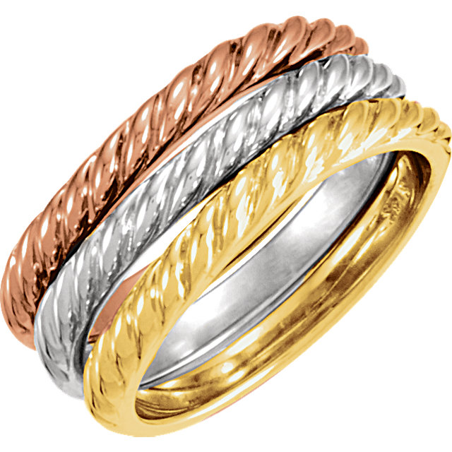 14kt Yellow, White & Rose Rope Design Stackable Band - Set of 3