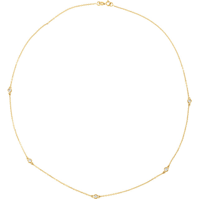 14kt Yellow 14 CTW Diamond Bezel 18 Necklace