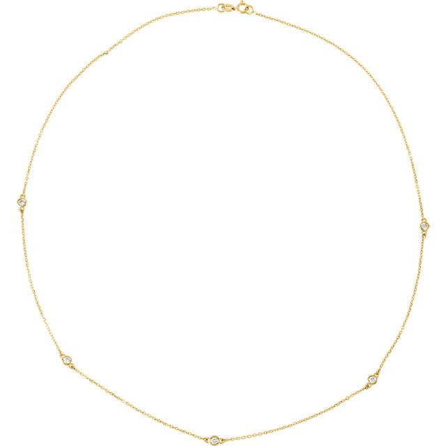 14kt Yellow 14 CTW Diamond Bezel 18 Necklace