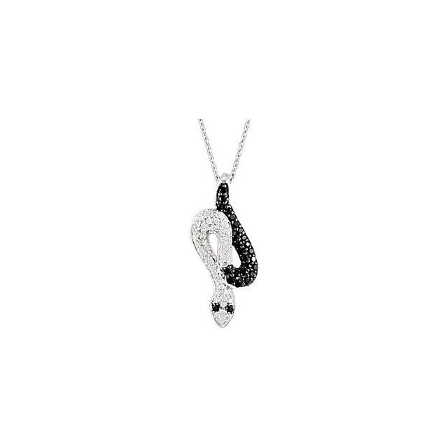 Black Spinel and Diamond Snake Necklace