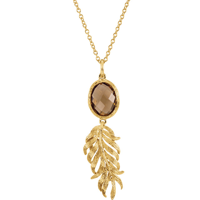 Sterling Silver Yellow Gold Plated Checkerboard Honey Quartz Leaf 32 Necklace