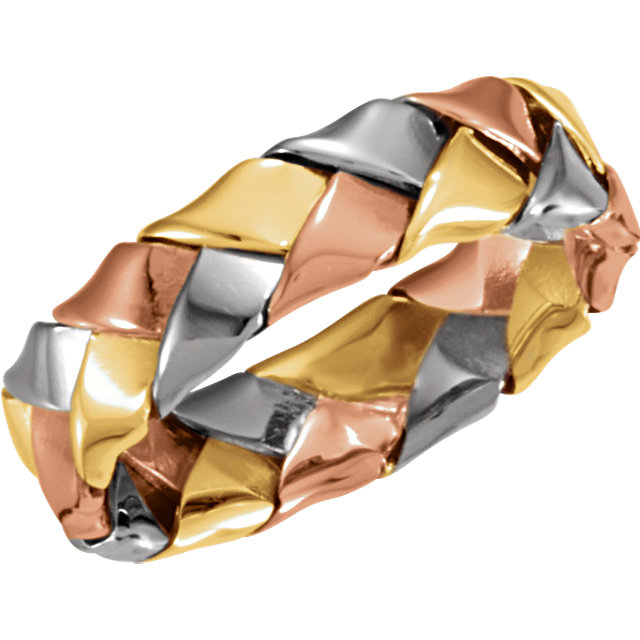 14kt Tri-Color 5.5mm Hand Woven Band