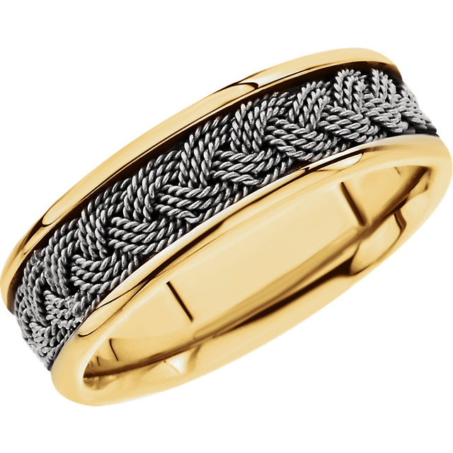 14kt Yellow & White 7mm Comfort-Fit Hand-Woven Band