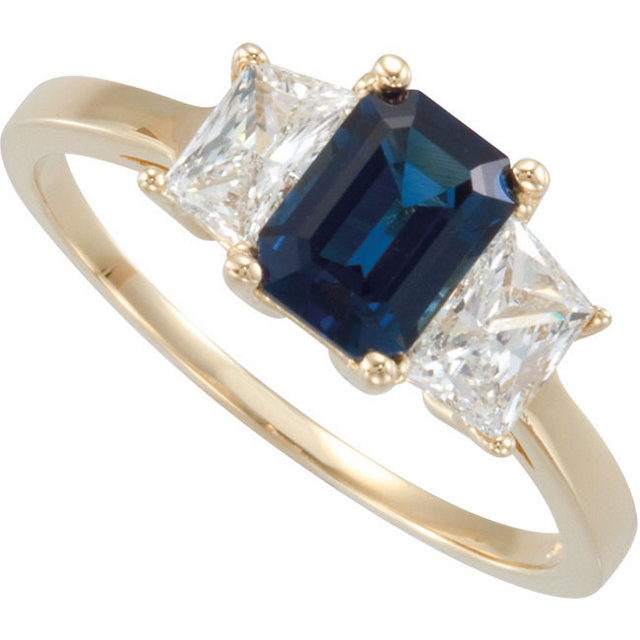 Copy of Blue Sapphire & Diamond Accented 3-Stone Ring