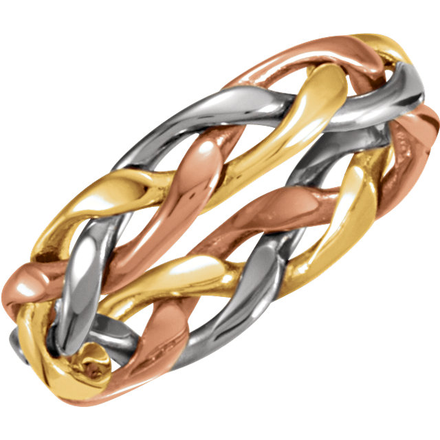 14kt Tri-Color 4.75mm Hand Woven Band