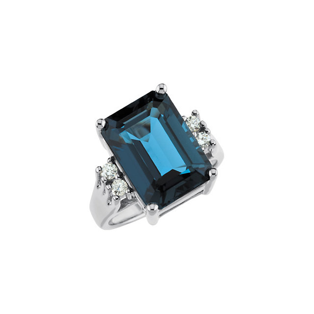 14kt White London Blue Topaz & 16 CTW Diamond Ring