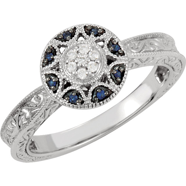 Blue Sapphire & Diamond Engraved Design Ring