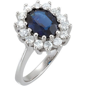 Sapphire & Diamond Halo-Style Ring