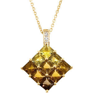 Multi-Color Quartz & Diamond Pendant