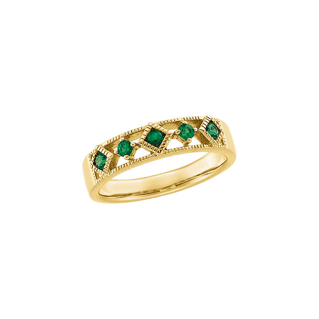 14kt Yellow Emerald Anniversary Band