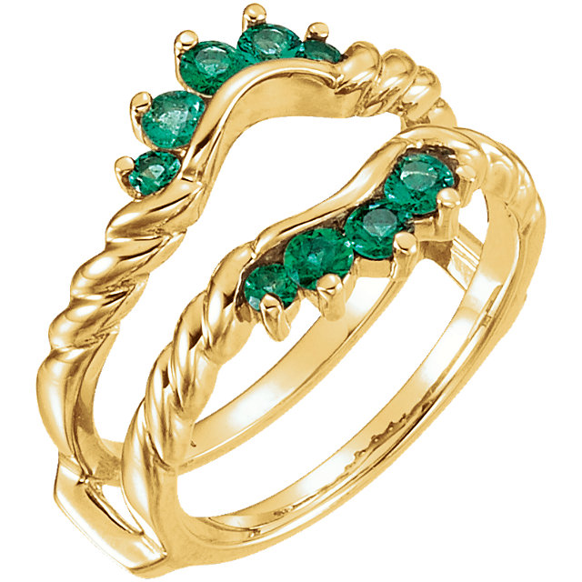 14kt Yellow Emerald Ring Guard