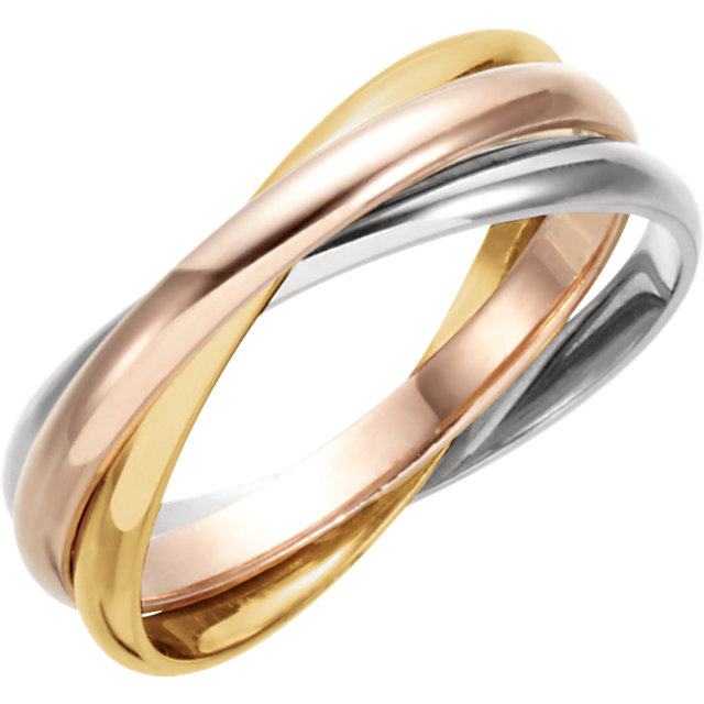 14kt Yellow, White & Rose 3 Band Rolling Ring
