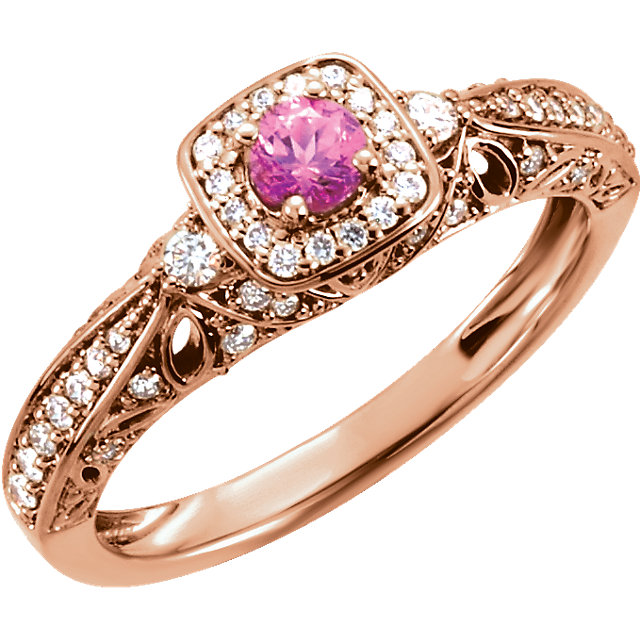 14kt Rose 3.75mm Round Pink Sapphire & 1/3 CTW Diamond Ring