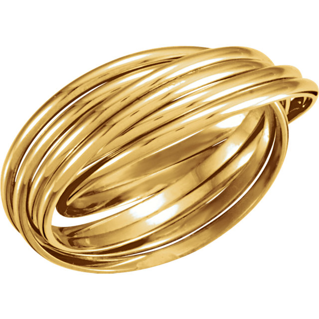 14kt White 6-Band Rolling Ring