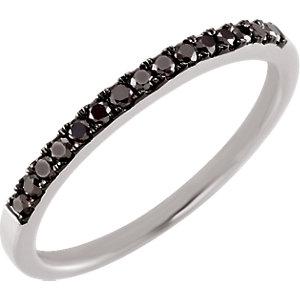 14kt White 15 CTW Black Diamond Band