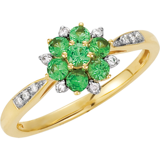 Tsavorite Garnet & Diamond Accented Floral Ring