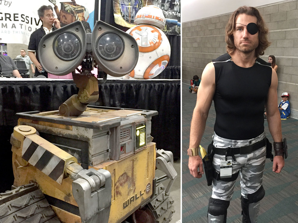 Left: Fully radio controlled Wall-E from (The Wall-E Robot Project), Right: Spot-on Snake Plissken cosplay by  Byrne Owens