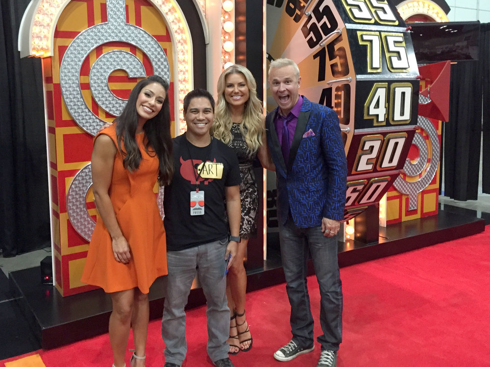 Hanging with Manuela Arbelaez, Rachel Reynolds, and George Grey at The Price is Right wheel.