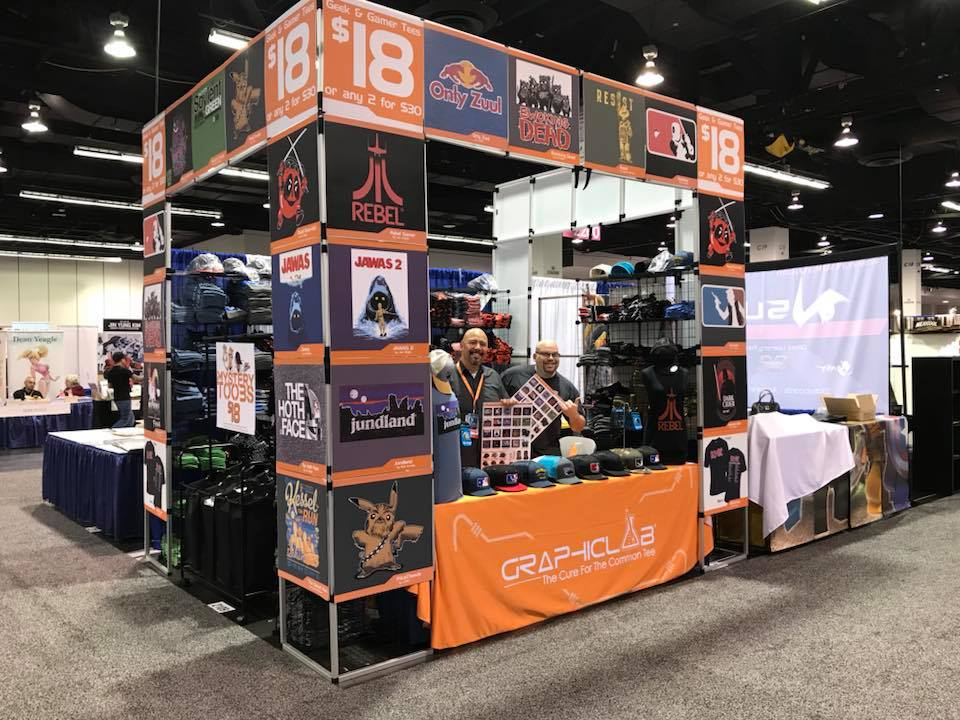 Booth goals. GraphicLab Tees in all their glory at WonderCon (photo by GraphicLab Tees, instagram.com/graphiclabtees)
