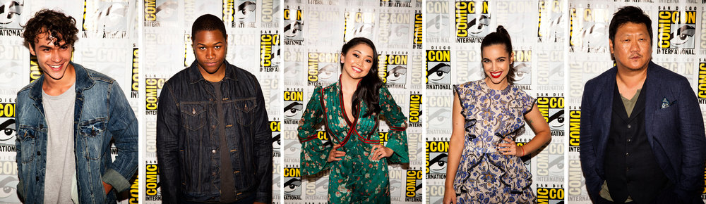 Deadly Class  cast (left to right): Benjamin Wadsworth (Marcus Lopez), Luke Tennie (Willie Lewis), Lana Condor (Saya Kuroki), M aría Gabriela de Faría  (Maria Salazar), and Benedict Wong (Master Lin). Photos by Joel Feria
