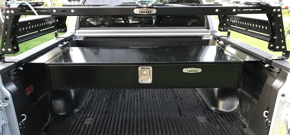 two drawer locking toolbox for tonneau covers