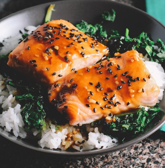 Asian Salmon Spinach Rice