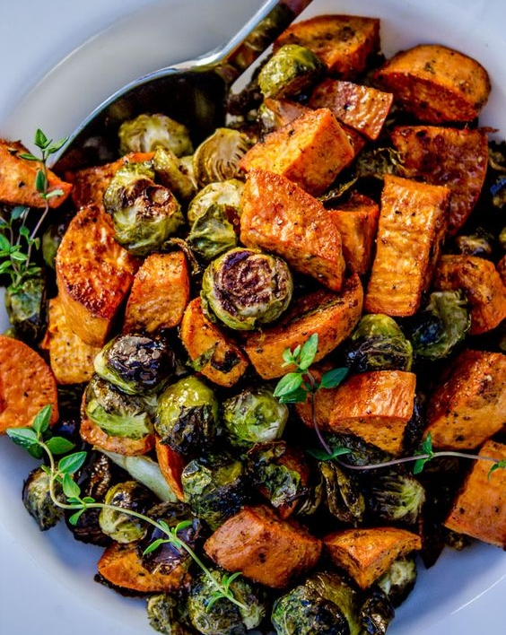 Roasted Sweet Potatoes and Brussell Sprouts