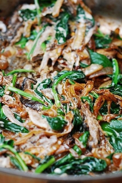 Sauteéd spinach, mushrooms, and carmelized onions