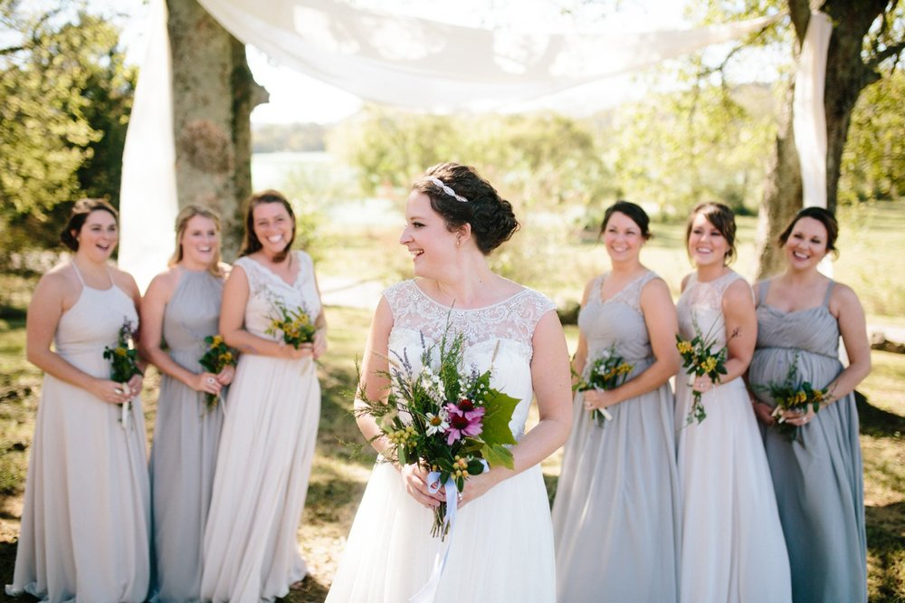indie wedding bridal party bridesmaids