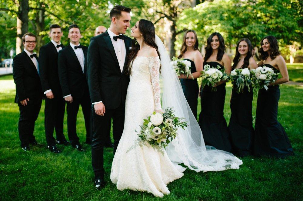 black tie wedding party