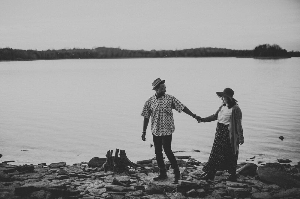 couple at lake engagement