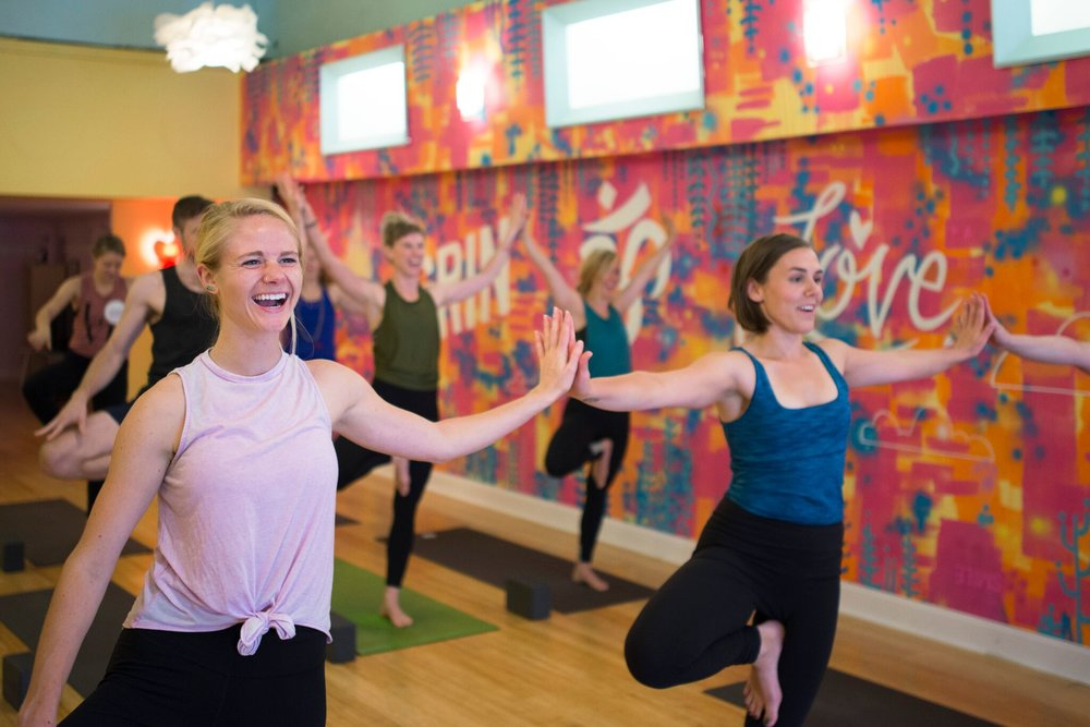 Yoga class students