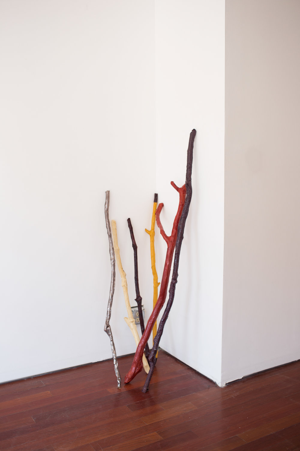 Lisa Kirk,  Shaman Sticks , 2016. Installation view. Efrain Lopez Gallery.