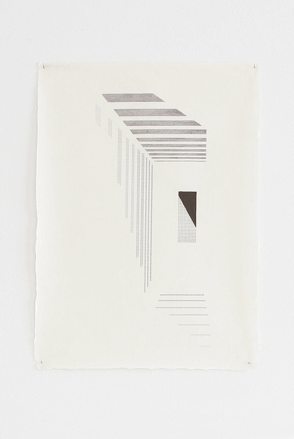 Azadeh Gholizadeh ,  Repetition Figure (1705) , 2017, graphite, print on rice paper