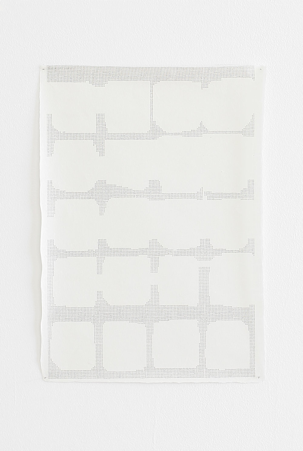 Azadeh Gholizadeh ,  Repetition Figure (1713) , 2017, graphite, print on rice paper