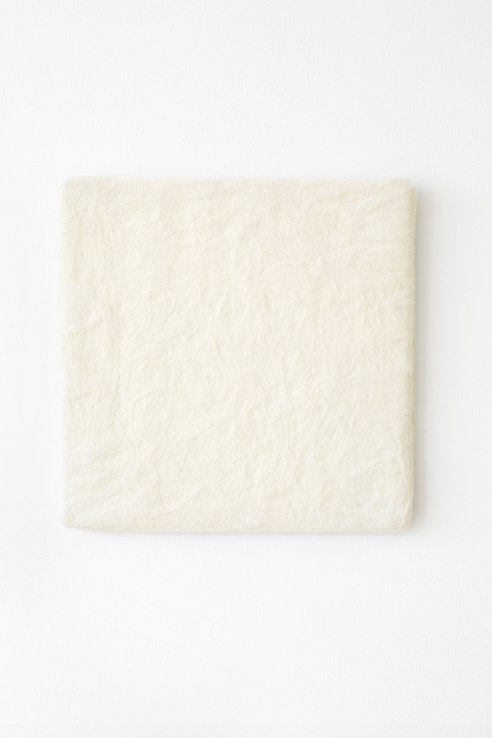 Manuela Garcia ,  White Felt , 2017, wool and wood
