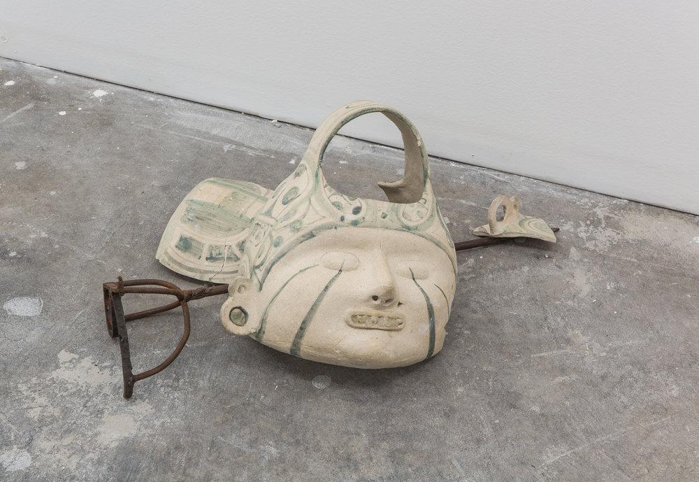 Breve crónica del panuco , 2018, ceramic, quartz, sugar, snake skin, goat leather and metal, 30h x 50w x 50d cm