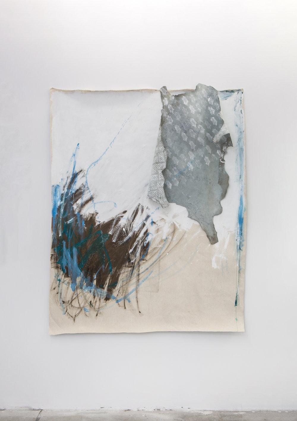 Marina 3 , 2018, oil on printed canvas and leather, 190 x 150 cm