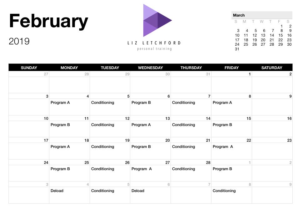 Training Calendar Example