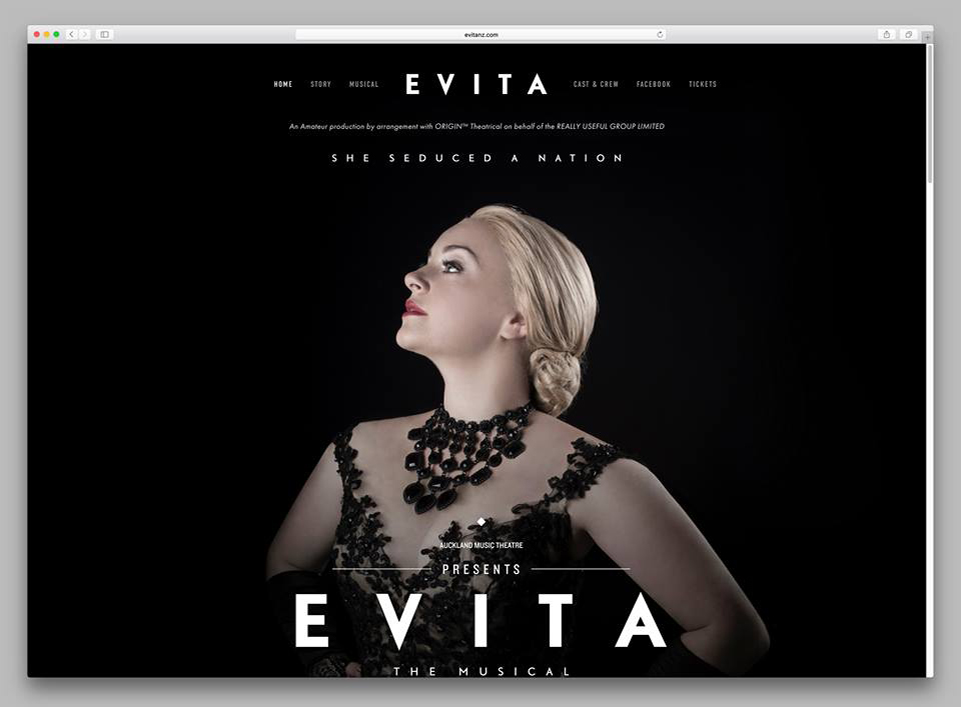 PROJECT: EVITA, THE MUSICAL  Photography & Copywriting: Morgahna Godwin Graphic Design: Ryan Romanes  FINALIST 2016 NZ SOCIAL MEDIA AWARDS