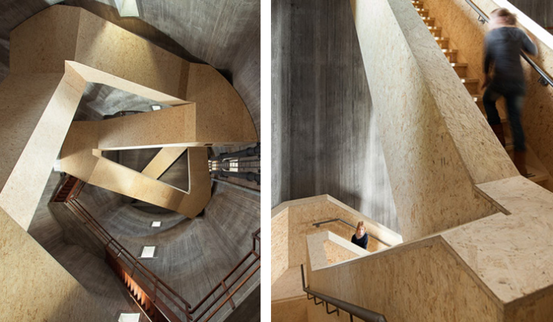Designed by Zecc Architecten with engineered material made from compressed wooden strands - this staircase was created to transform an old water tower into an observation point overlooking a Dutch national parl. There are three staircases in the building which lead visitors to a viewing platform 45 metres above the ground.